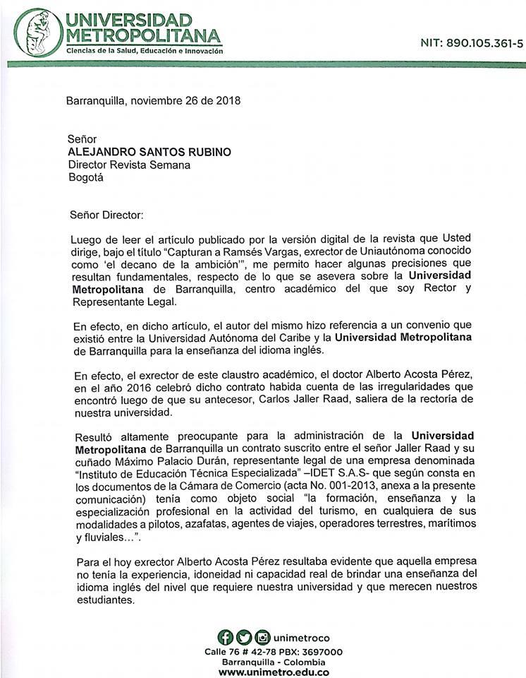 RESPUESTA DEL RECTOR DE UNIMETRO A LA REVISTA SEMANA